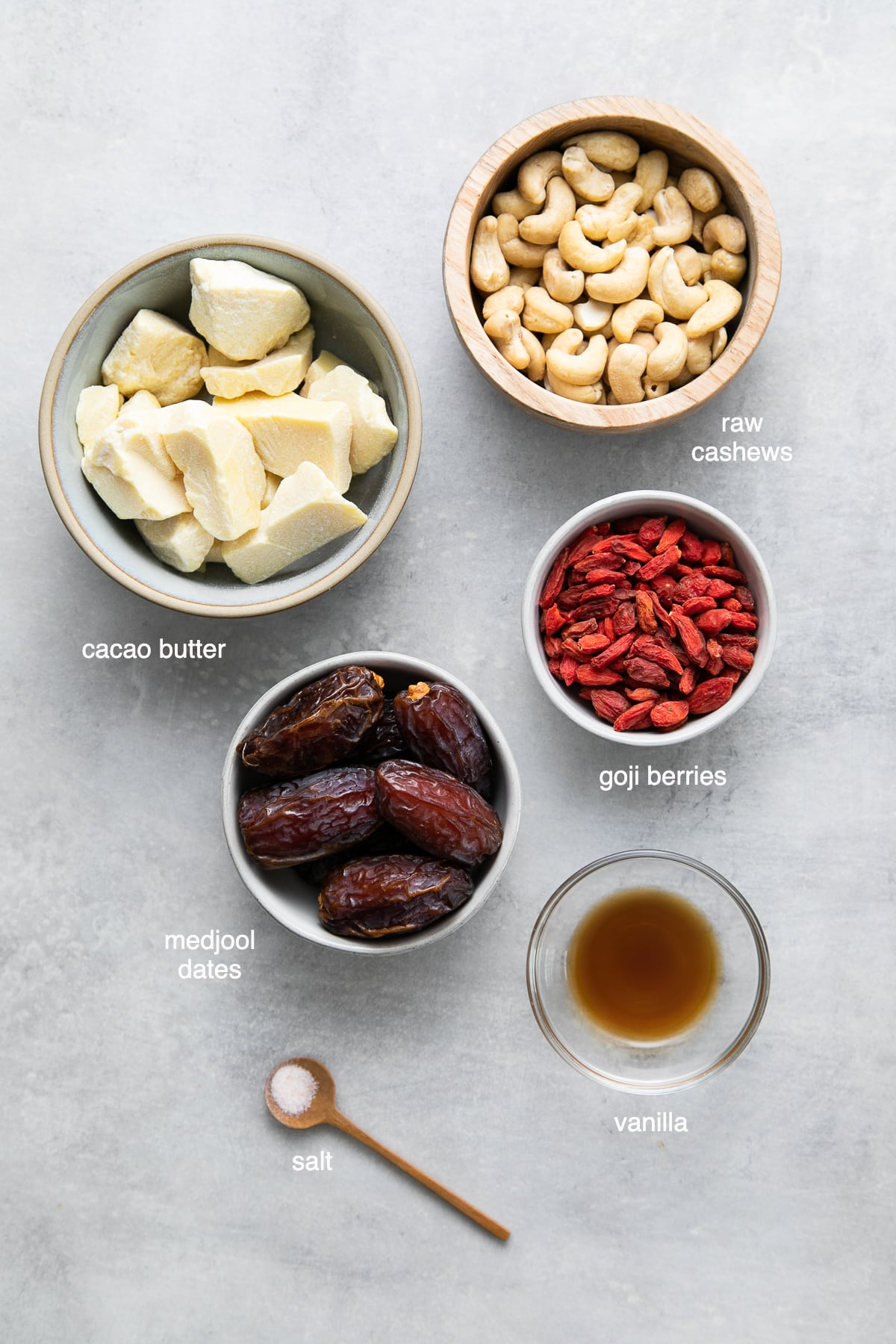 top down view of ingredients used to make white chocolate truffles recipe with goji berries.