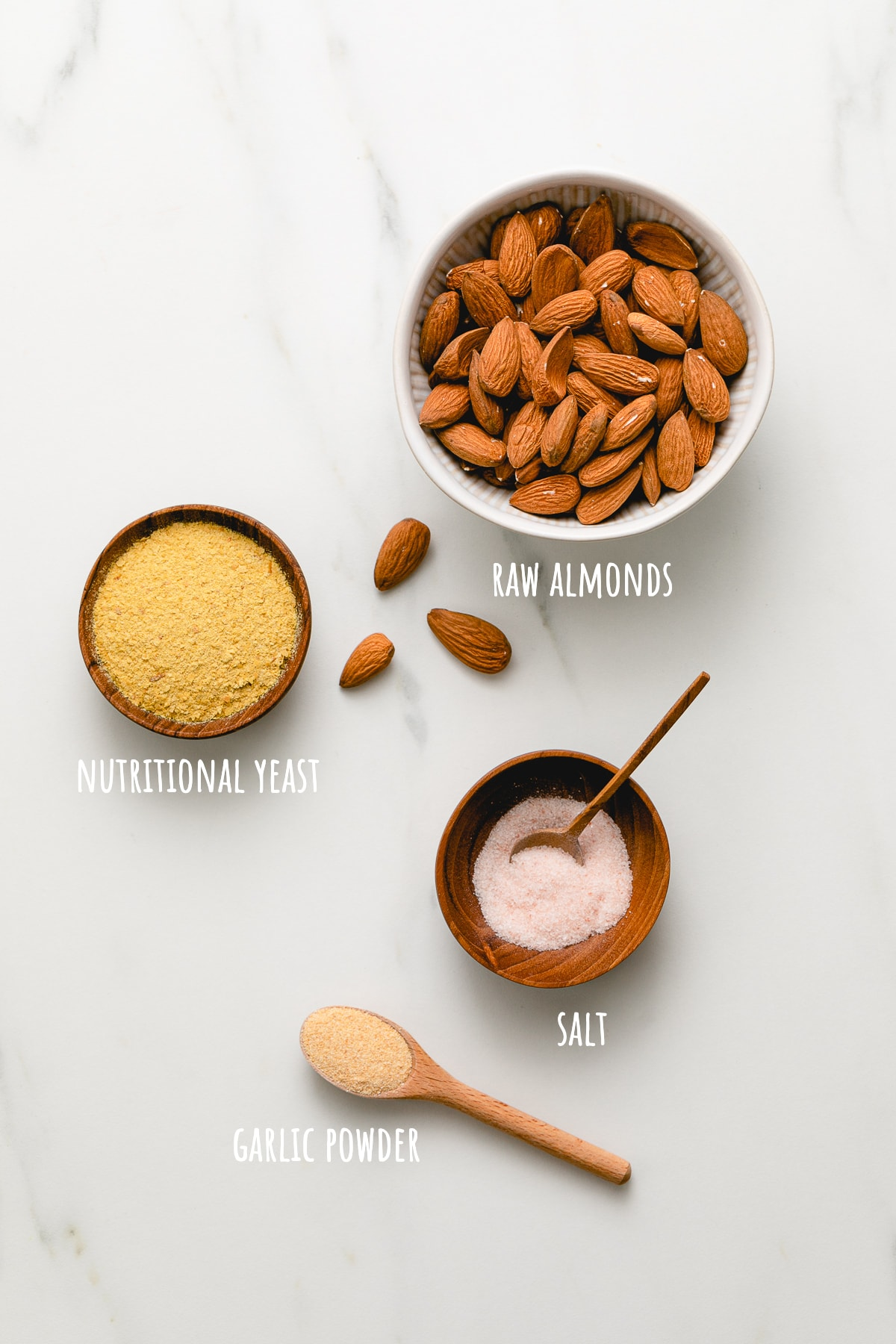 top down view of ingredients used to make healthy almond parmesan recipe.