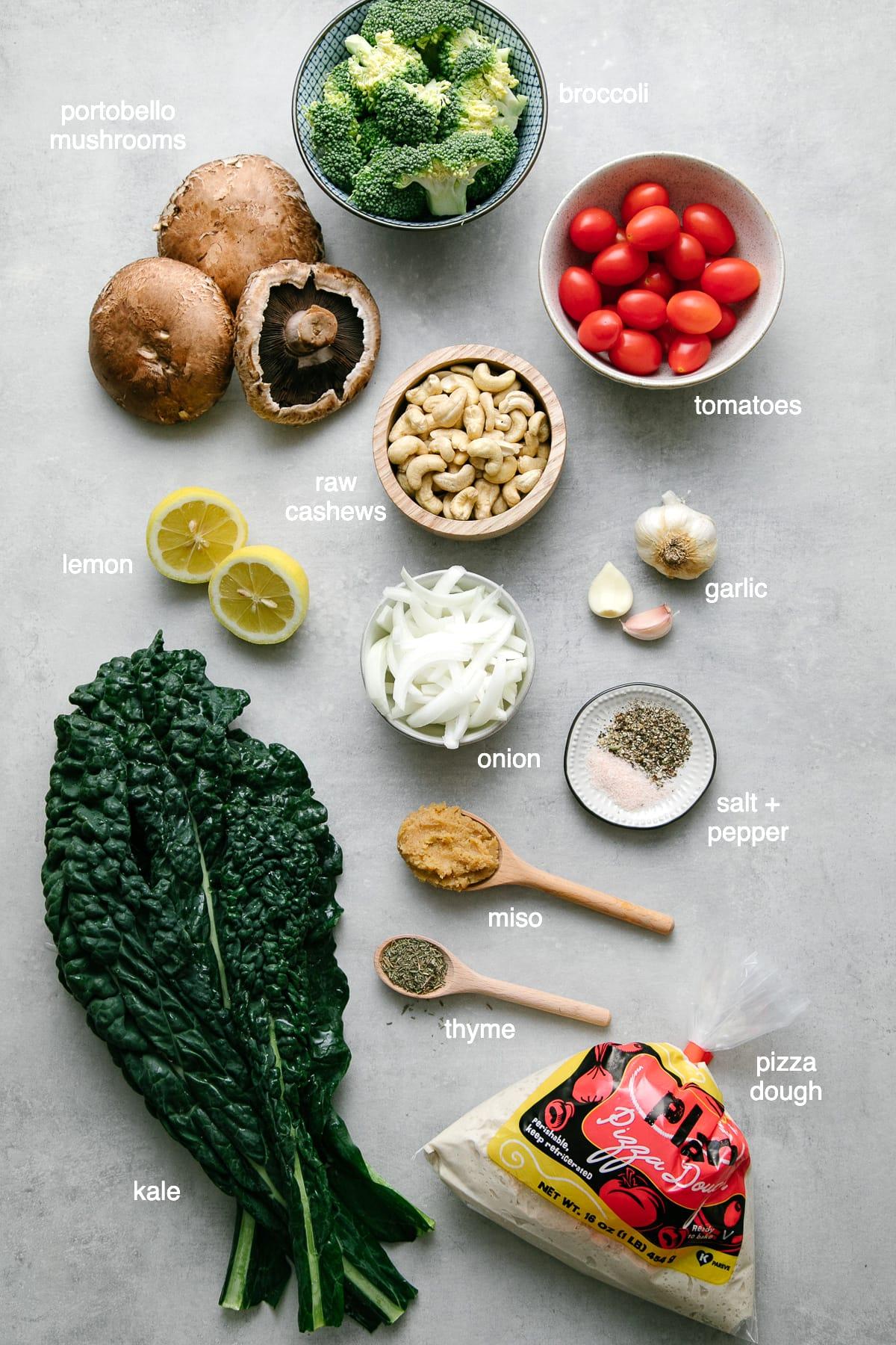 top down view of ingredients use to make easy vegan calzones.