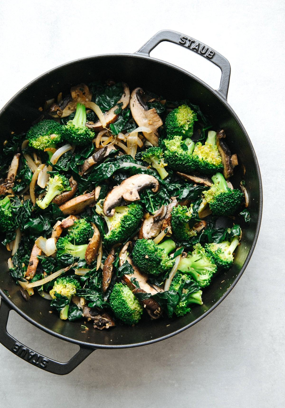 top down view of veggie mix filling for vegan calzones recipe.