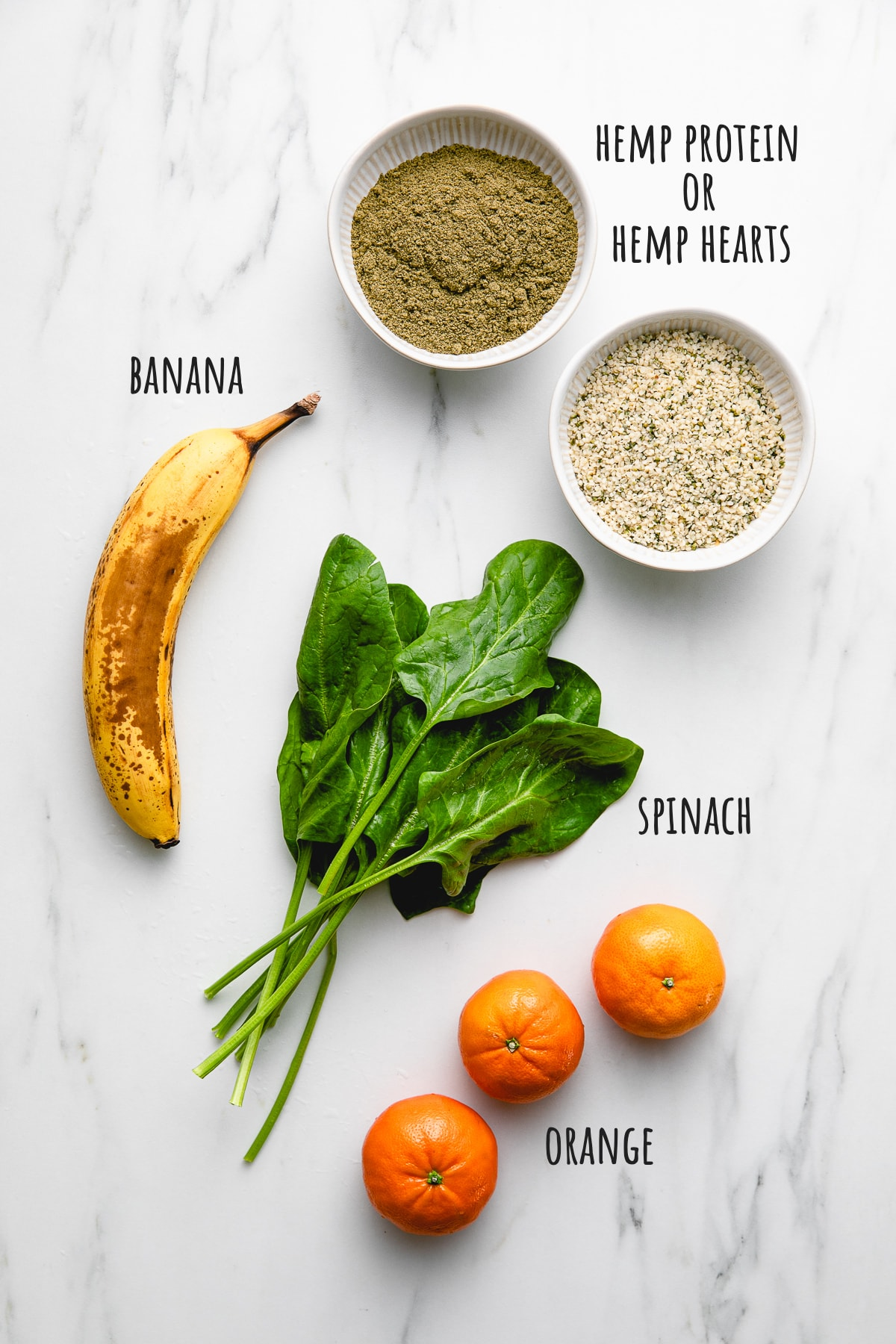 top down view of ingredients used to make the fresh hemp seed smoothie recipe.