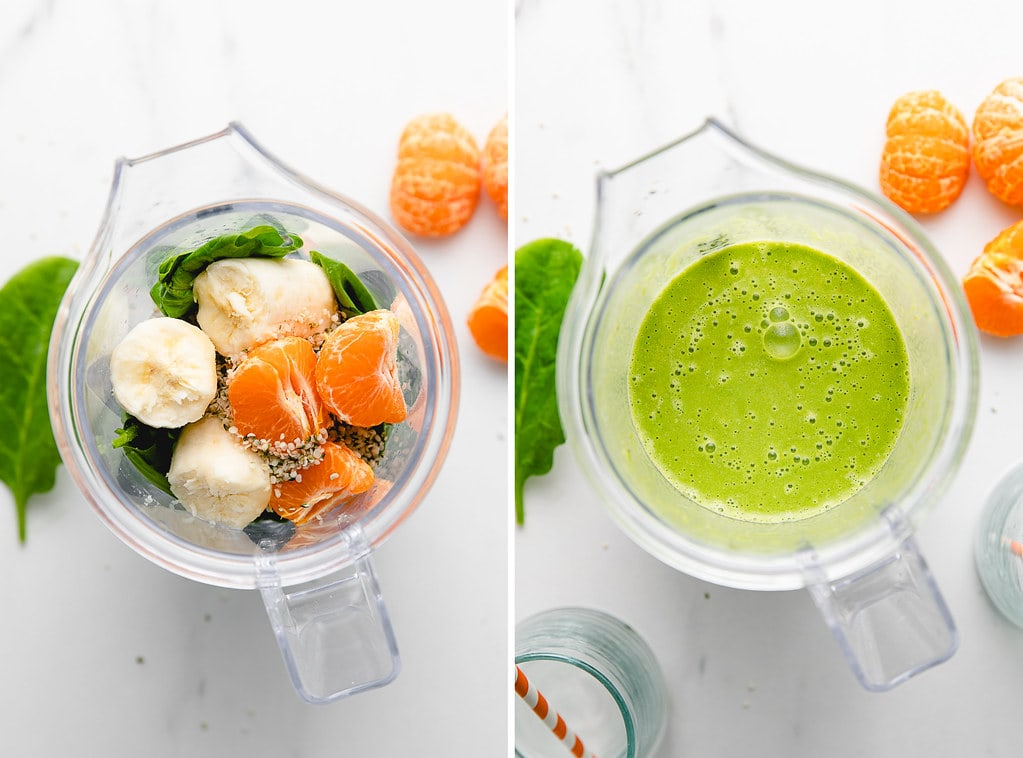 side by side photos showing the process of making a hemp smoothie.