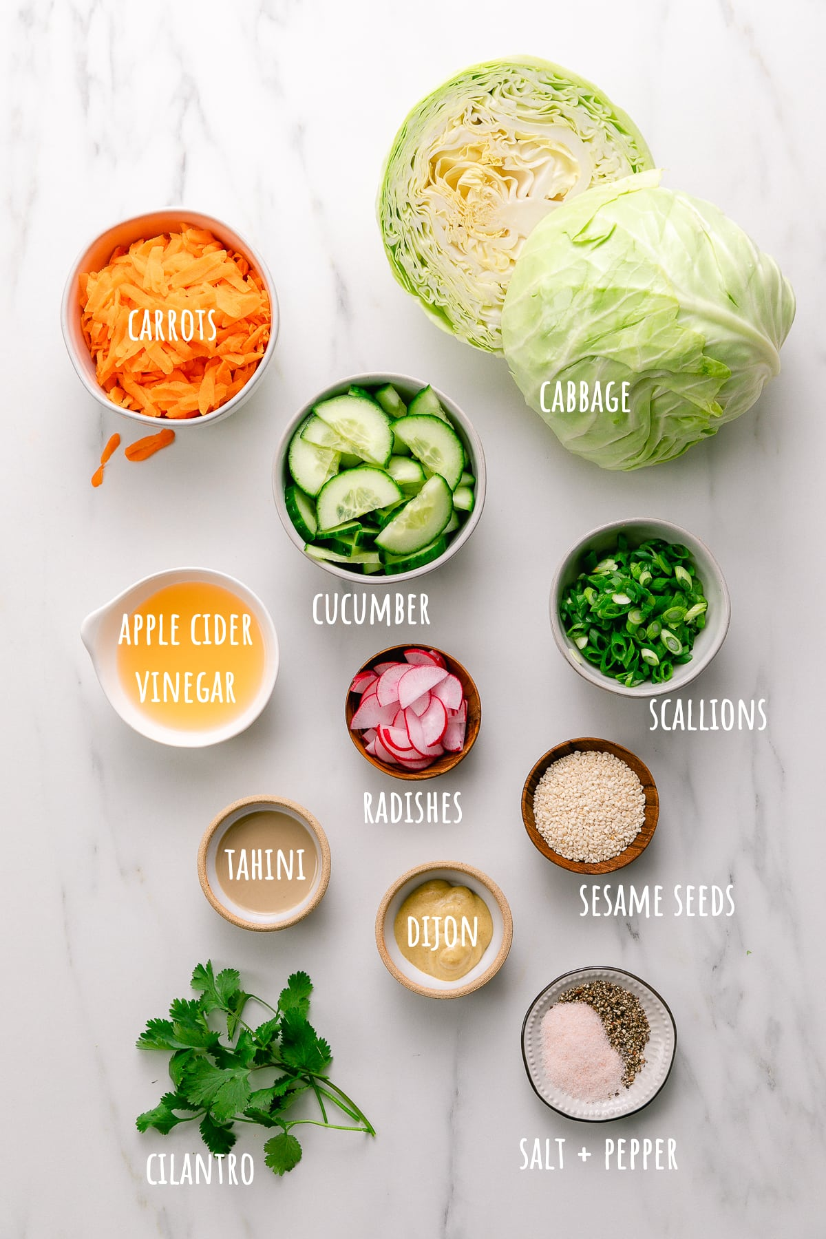 top down view of ingredients used to make healthy cabbage salad recipe.