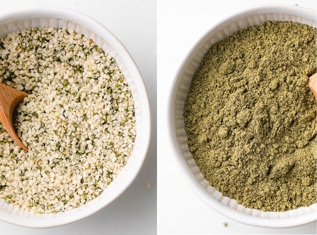 side by side photos of hemp hearts (aka hulled hemp seeds) and hemp protein powder.