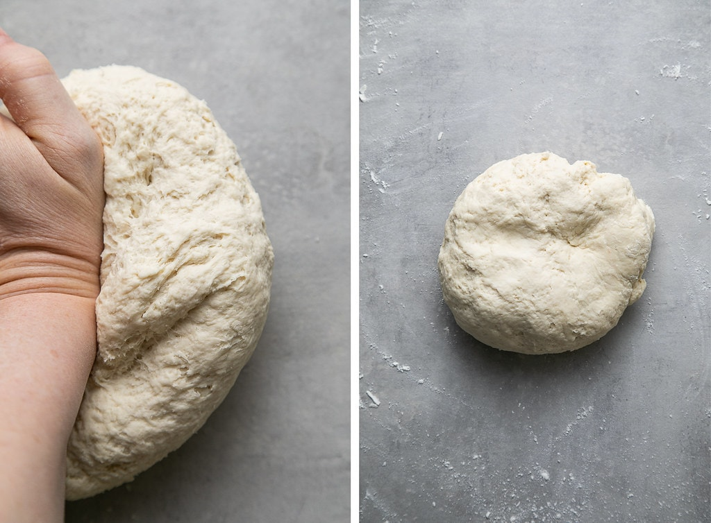 side by side photos showing the process of kneading pretzel dough.