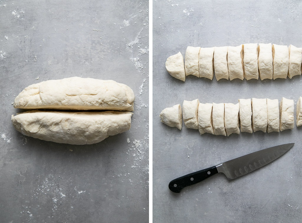 side by side photos showing the process of slicing pretzel bites.
