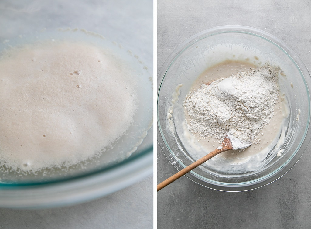 side by side photos showing how to mix pretzel dough in a glass bowl.