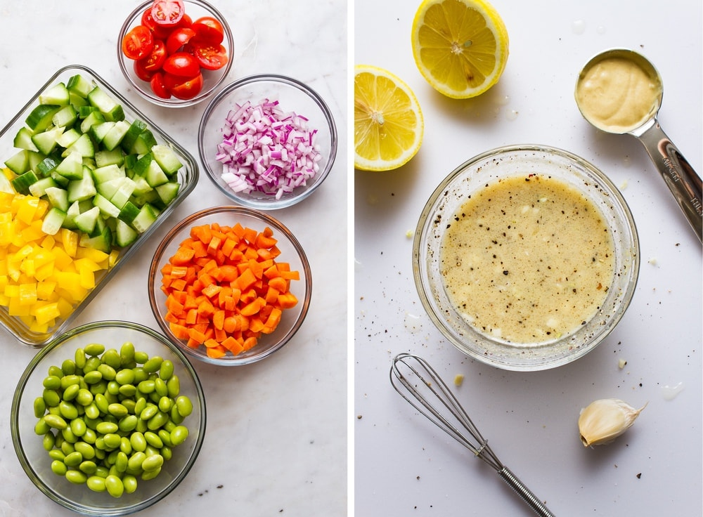 side by side photo of prepped veggies for quinoa salad, next to the freshly mixed zesty garlic lemon dijon dressing in a small glass bowl