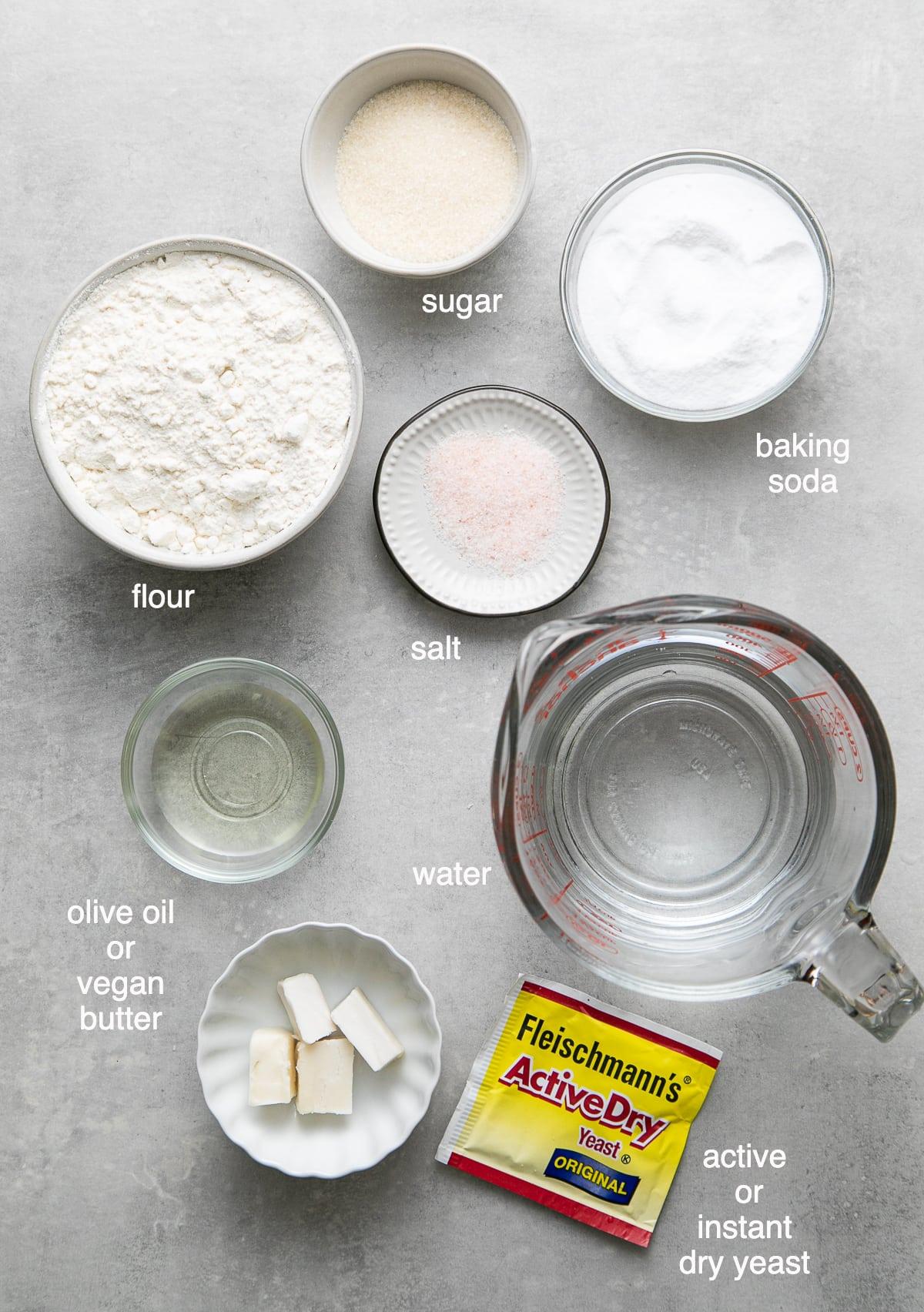 top down view of ingredients used to make vegan soft pretzel bites.