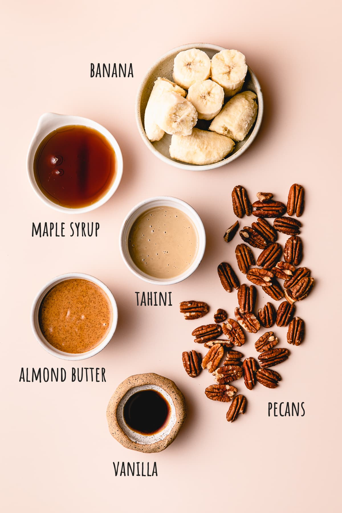 top down view of ingredients used to make vegan butter pecan ice cream.