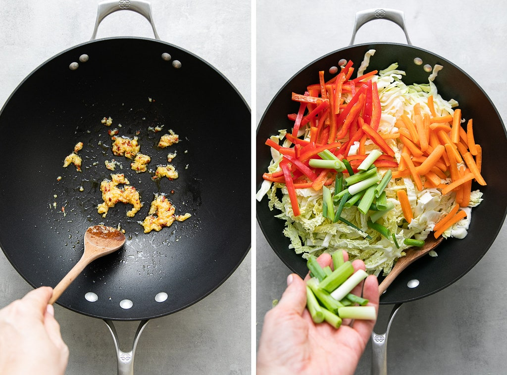 side by side photos showing the process of stir frying cabbage.