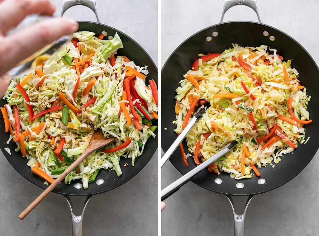 side by side photos showing the process of adding seasoning to stir fried cabbage.