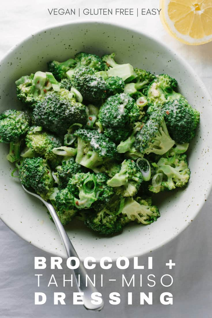steamed broccoli with tahini miso dressing