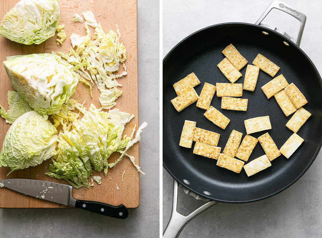 side by side photos of prepping cabbage and crispy tofu in a pan.