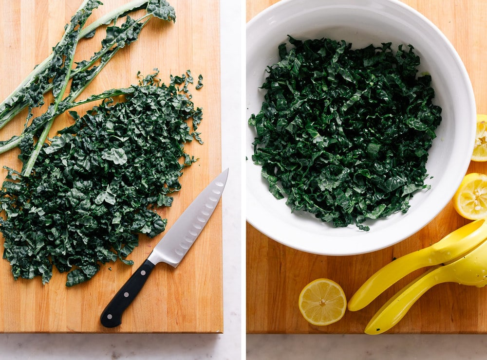 top down view of 2 photos: left side is kale stems removed and kale chopped; second photo shows chopped kale in a white bowl marinating (aka massaged) in lemon juice.