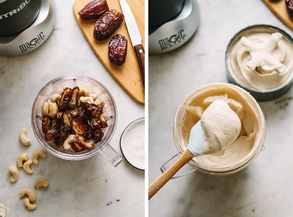 side by side photo of the process of making cashew sweet cream in a nutribullet.
