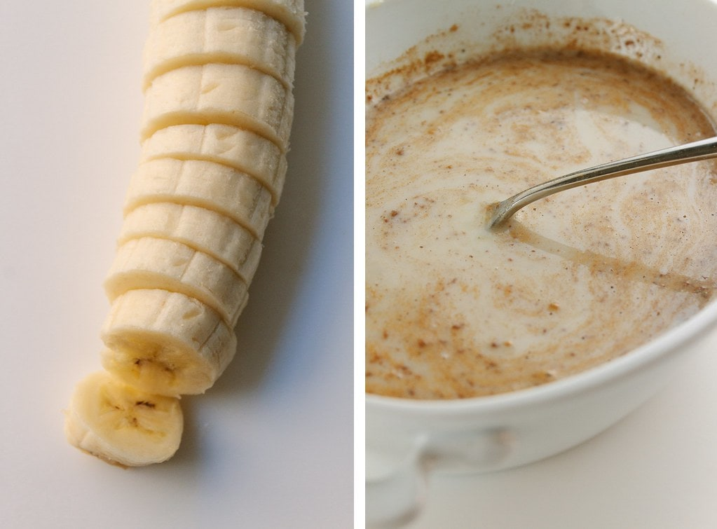 side by side photos of banana and french toast batter.