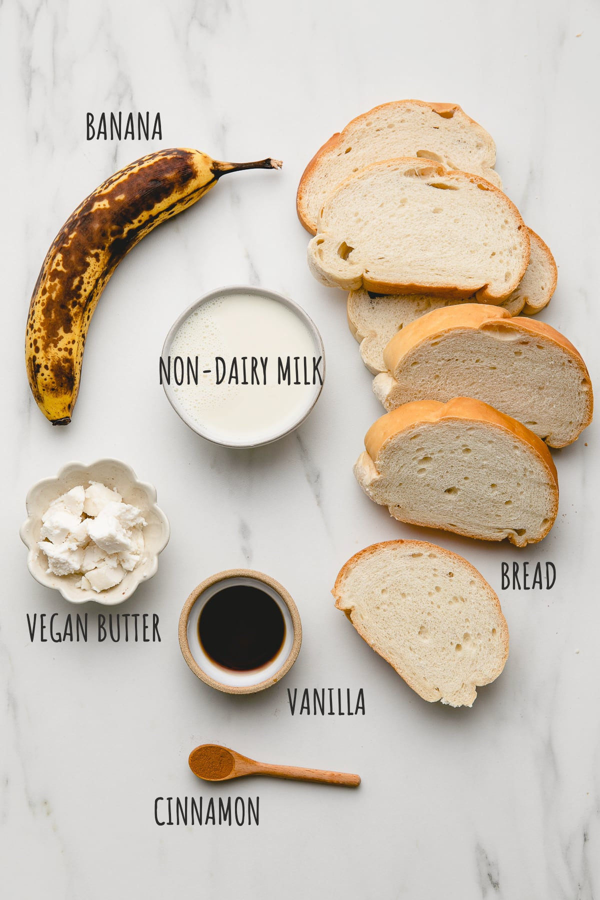 top down view of ingredients for making vegan banana french toast recipe.