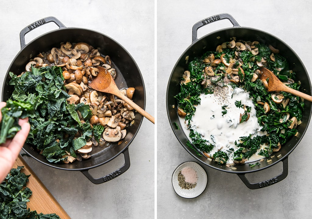 side by side photos showing the process of adding kale and cream to pot when making mushroom gratin recipe.