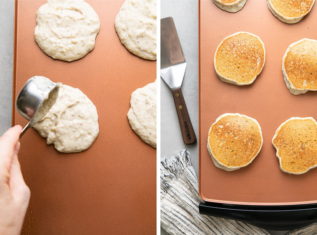 side by side photos showing the process of cooking gluten free pancakes on a griddle.