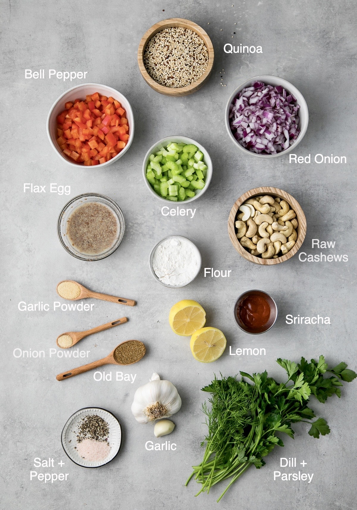 top down view of ingredients used to make vegan quinoa cakes.