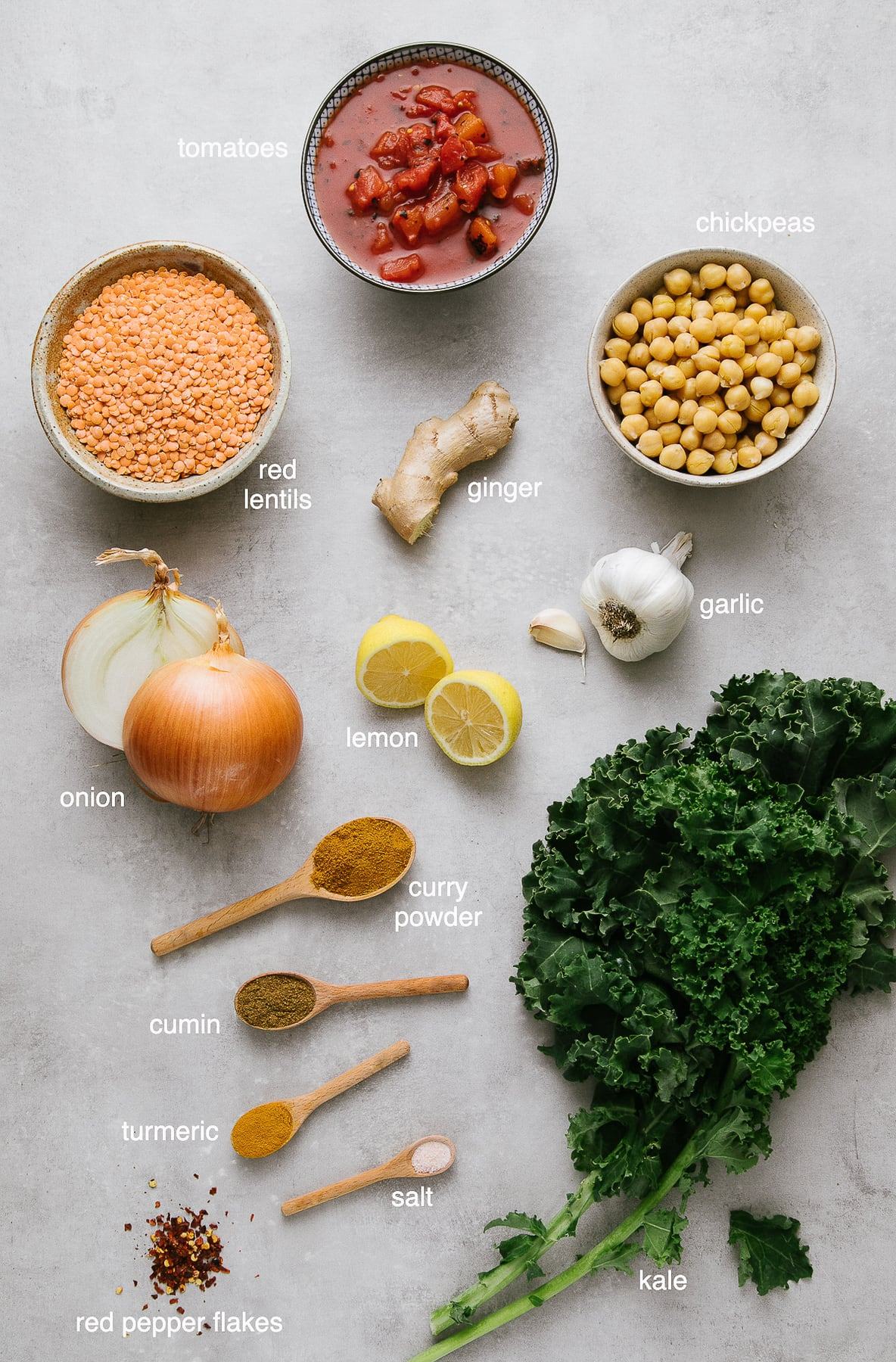 top down view of ingredients used to make healthy red curry lentil stew.