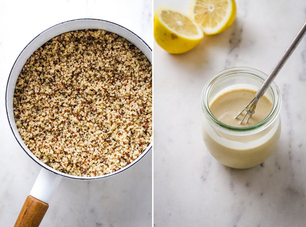 side by side view of a pot full of cooked quinoa and a small jar with lemon tahini dressing.