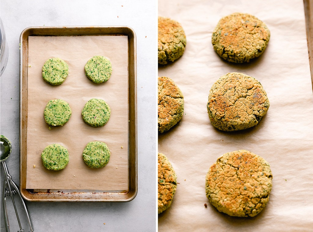 side by side photos showing the process of baking falafels on a baking sheet.