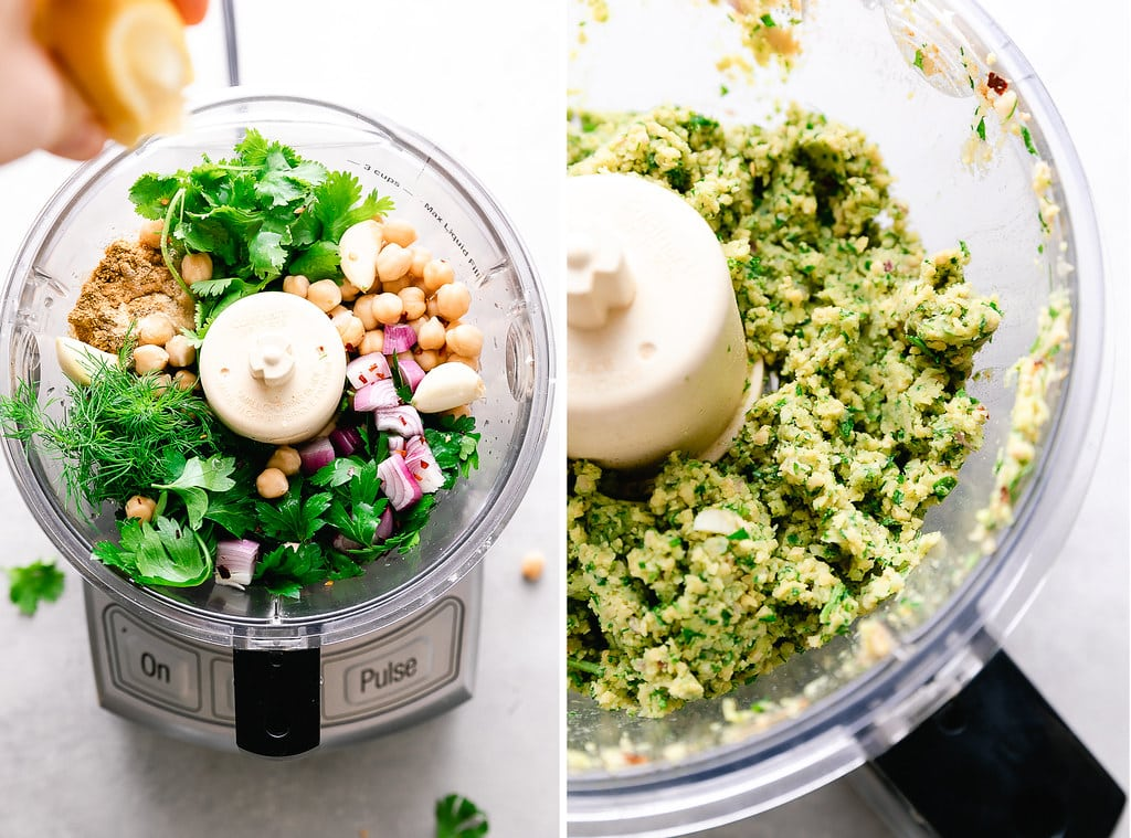side by side photos showing process of making falafel mix in a food processor.