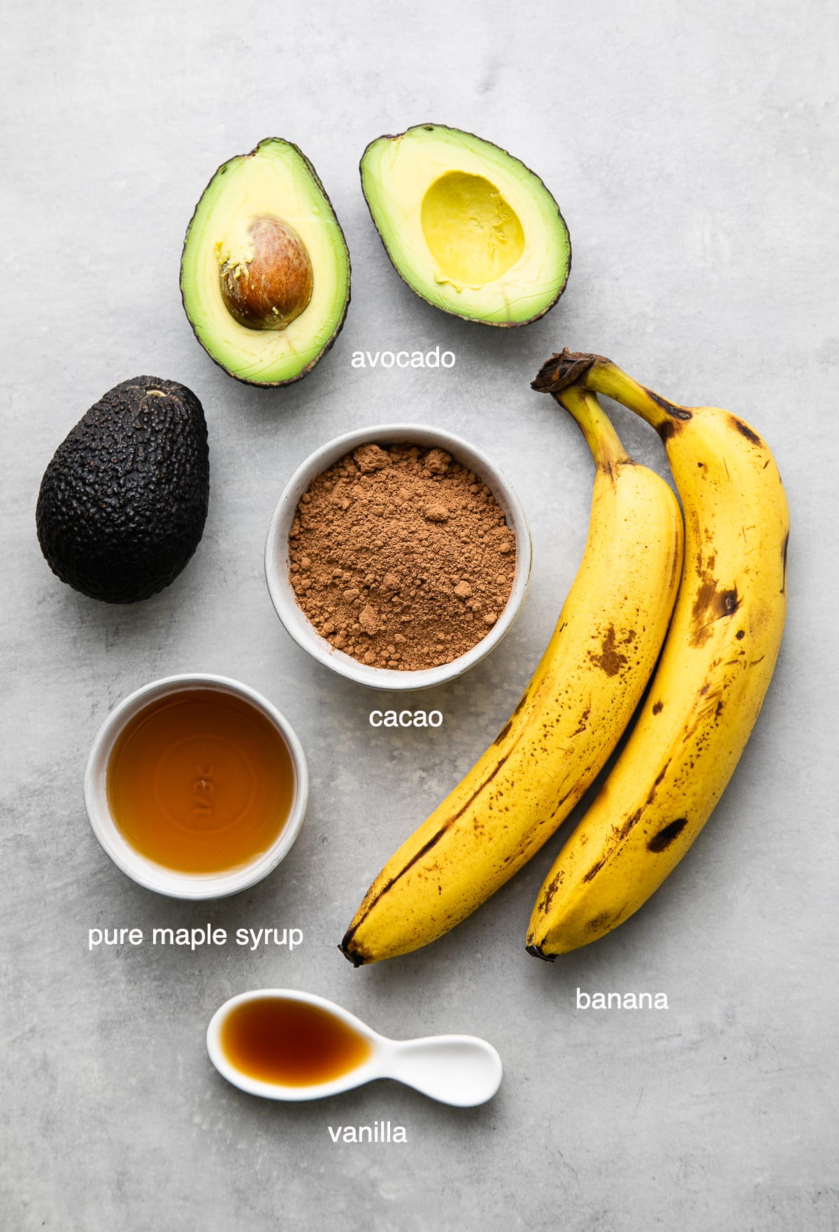 top down view of ingredients used to make healthy raw chocolate pudding.