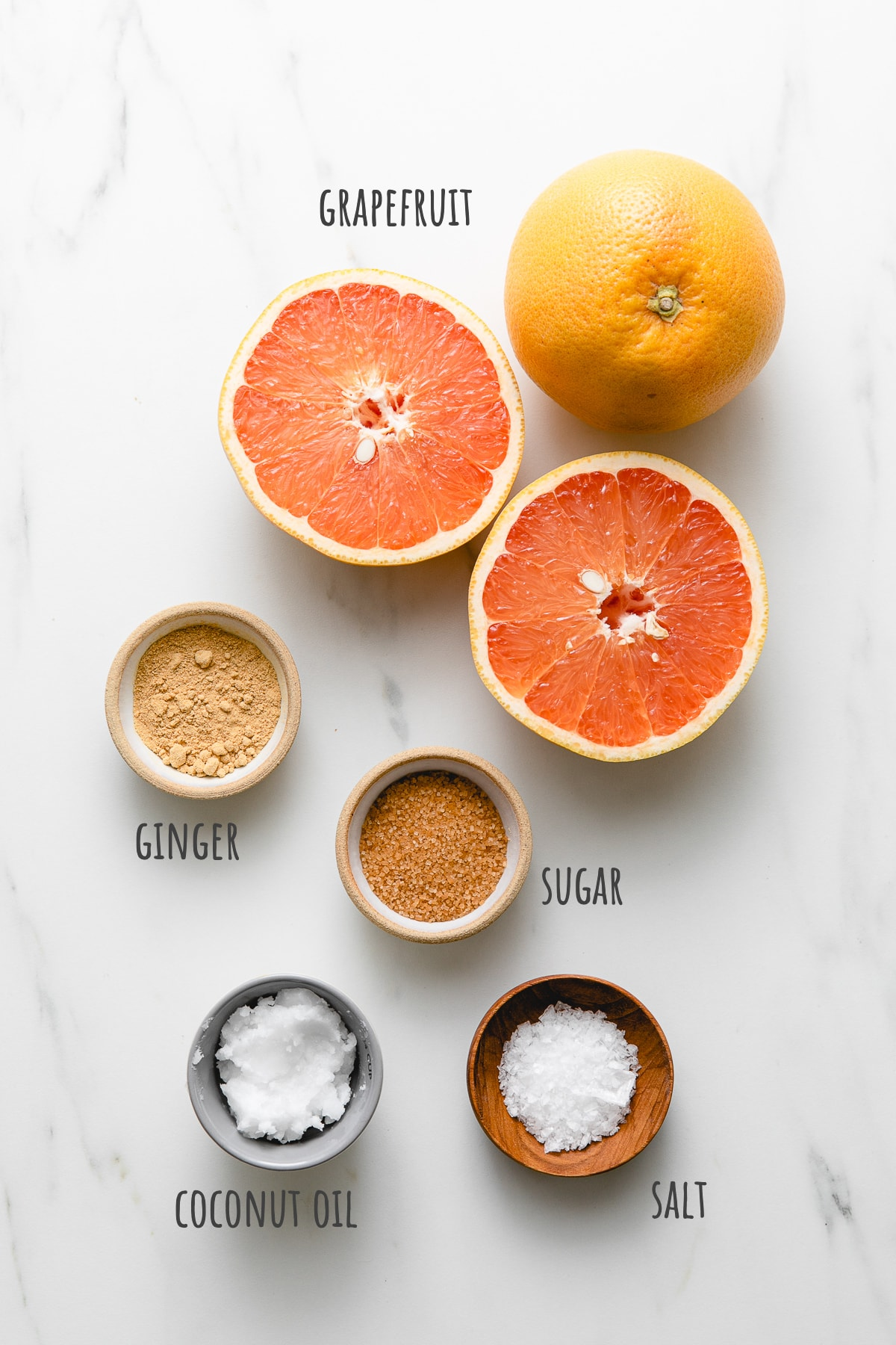 top down view of ingredients used to make broiled grapefruit recipe.