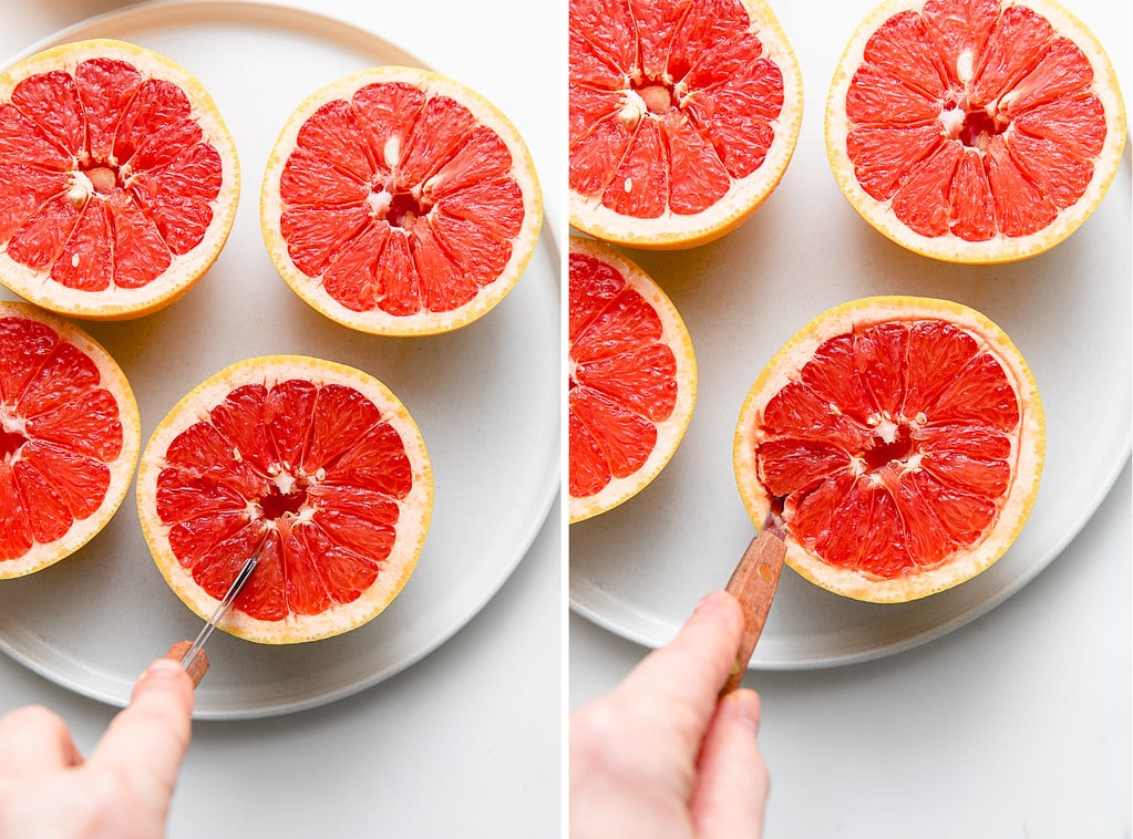 side by side photos showing the process of cutting grapefruit segments for broiling.