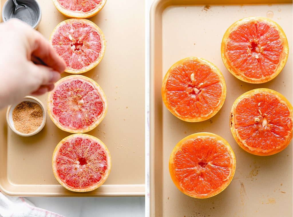 side by side photos showing the process of before and after broiled grapefruit.
