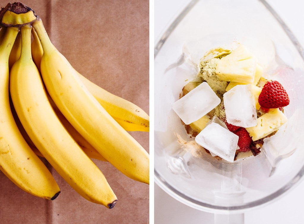 side by side photos of bananas and blender bowl with ingredients for banana split smoothie added.