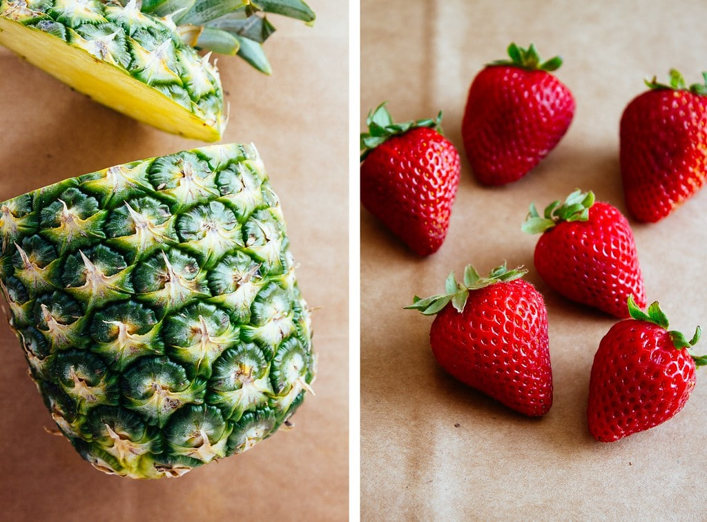 side by side photos of pineapple and strawberries.