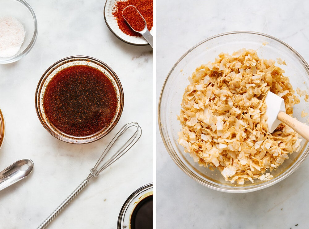 side by side photo of the process of mixing the coconut with coconut bacon seasonings.