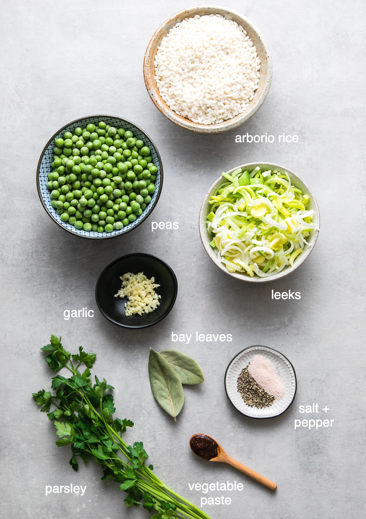 top down view of ingredients used to make risi e bisi recipe.