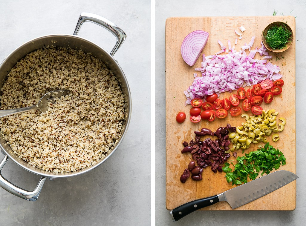 side by side photos showing the process of making Greek quinoa salad.