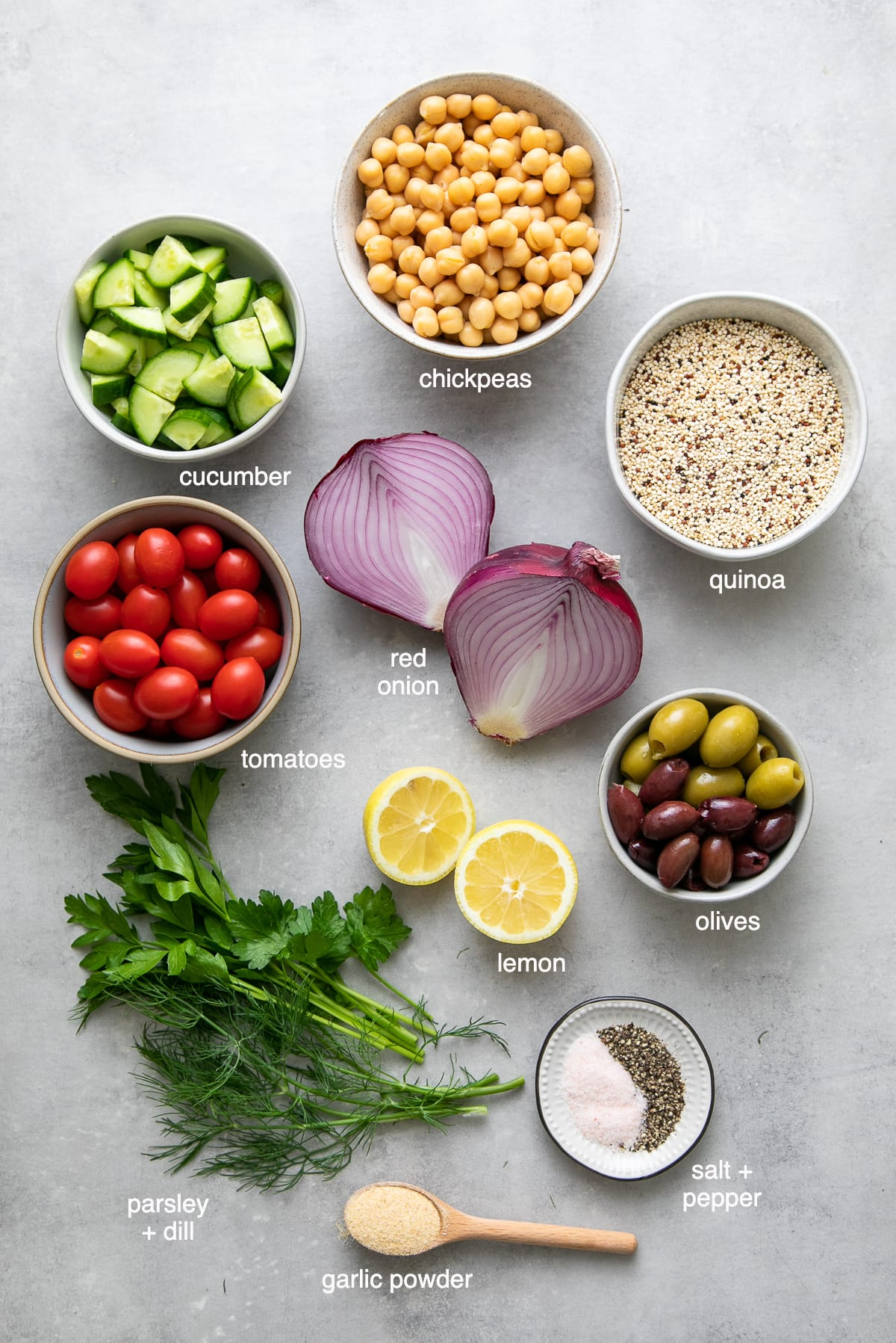 top down view of ingredients used to make healthy Greek Quinoa Salad recipe.