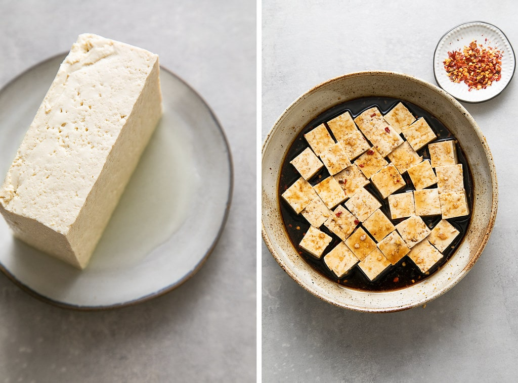side angle view showing the process of draining and marinating tofu.