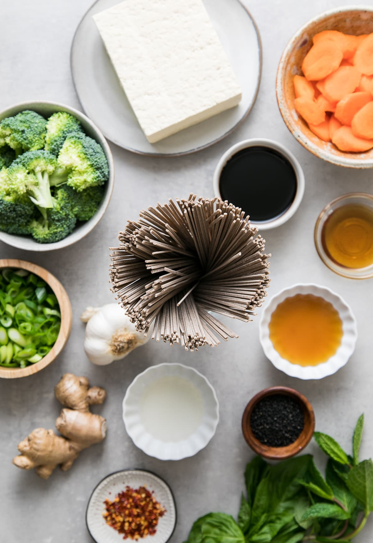 top down view of ingredients used to make sesame soba noodle salad bowl recipe.