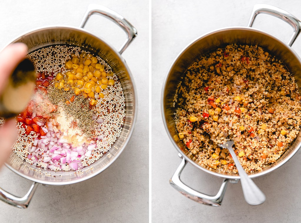 side by side photos showing process of making veggie quinoa.