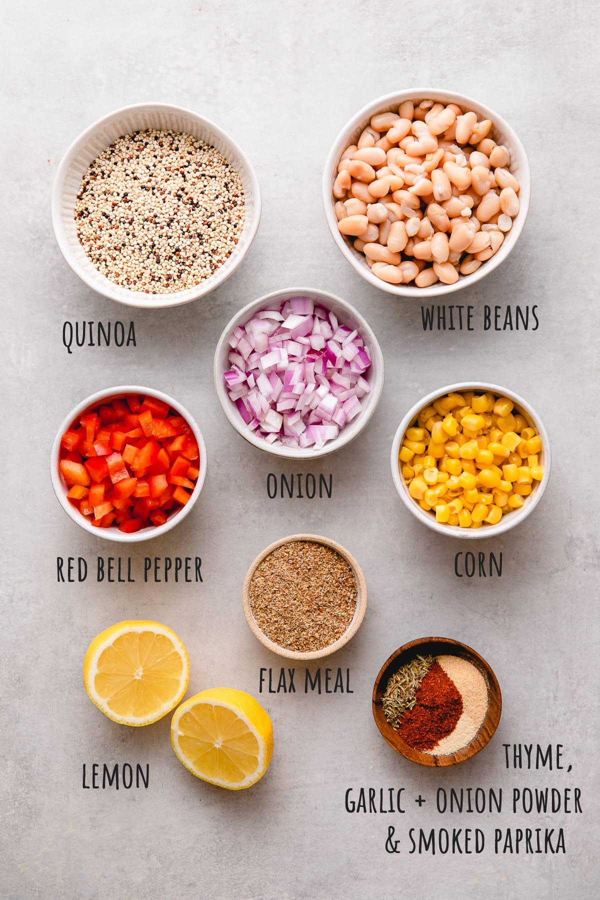 top down view of ingredients used to make quinoa white bean veggie burger recipe.