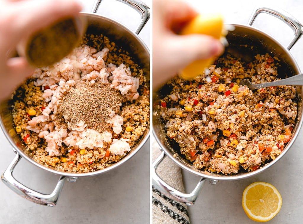 side by side photos showing process of making white bean quinoa veggie patty mixture