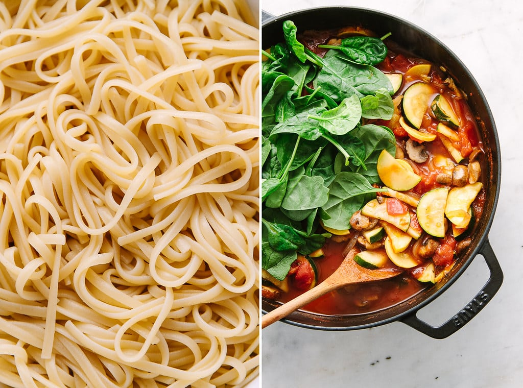 side by side photos showing the process of making garden vegetable spaghetti.