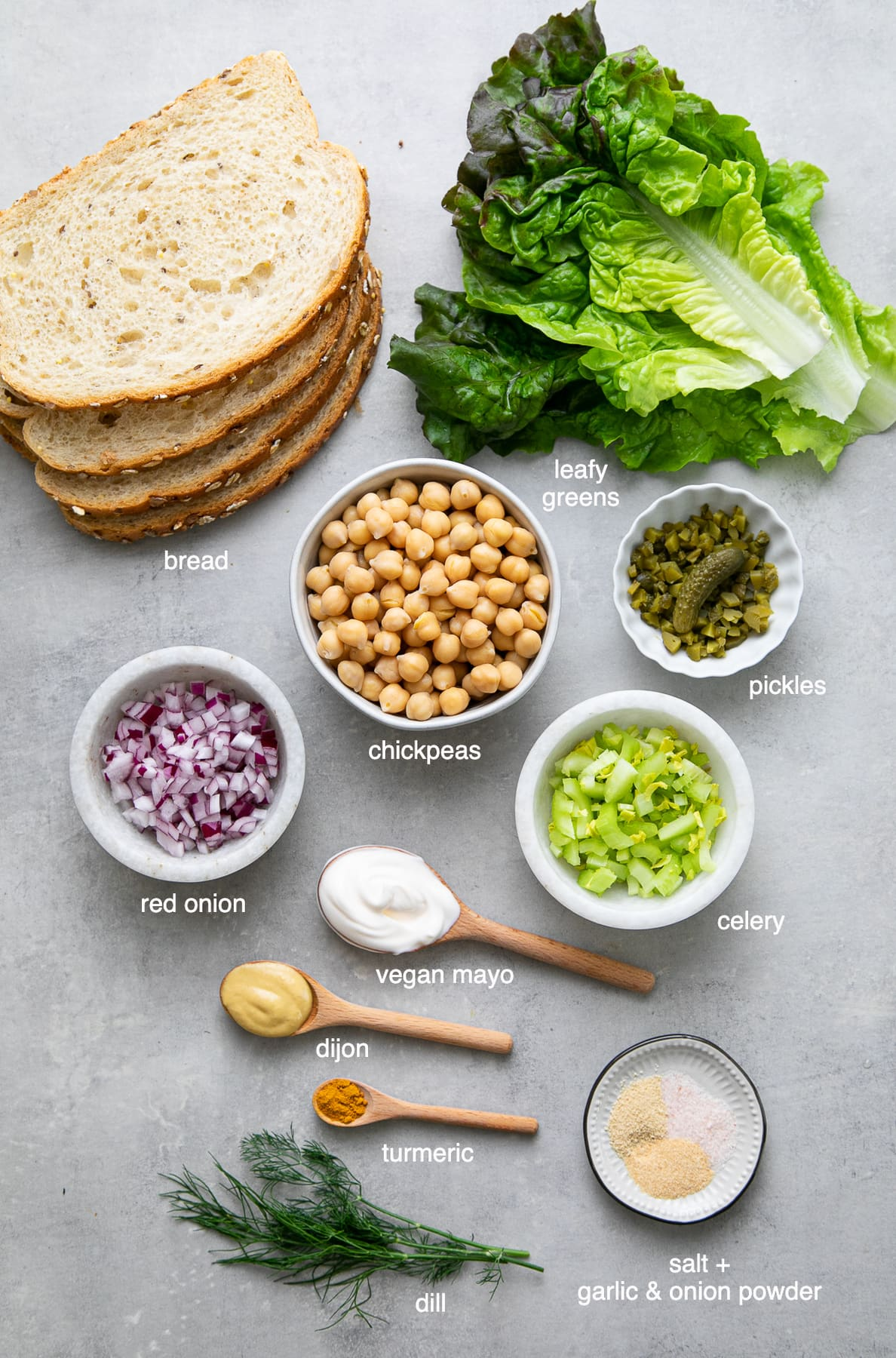 top down view of ingredients needed to make the best chickpea egg salad.