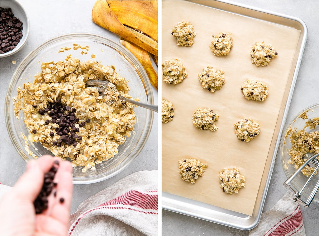 side by side photos showing mixing and adding scoops to prepared baking sheet.