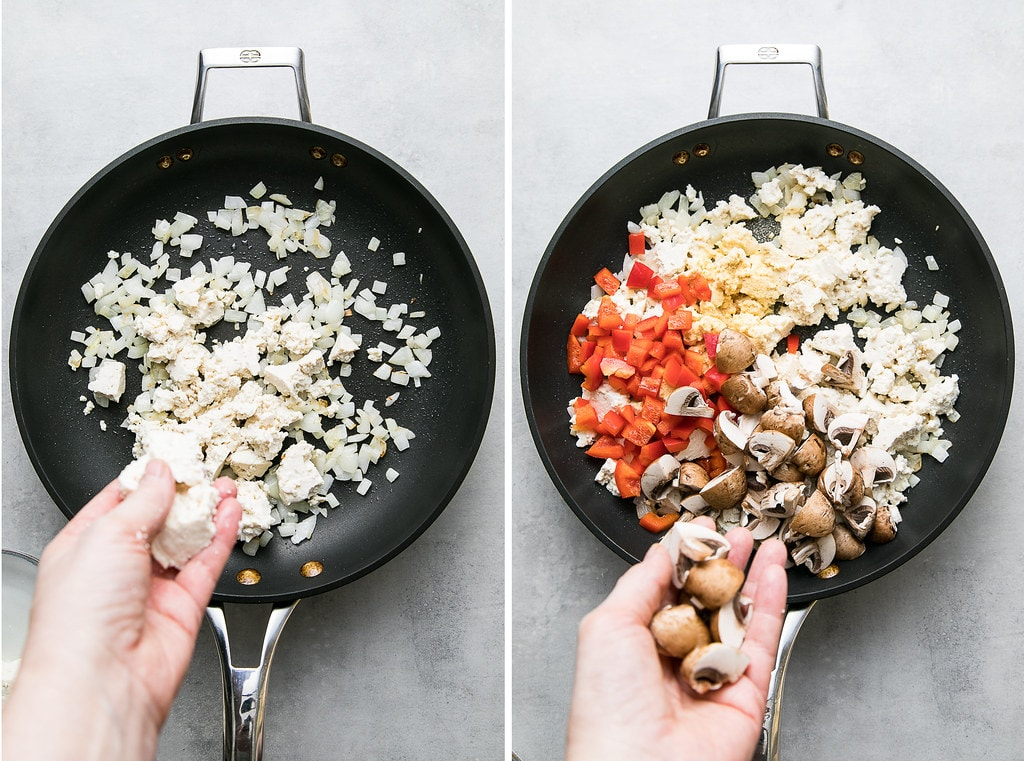 side by side photos showing the process of making tofu scramble in a skillet.
