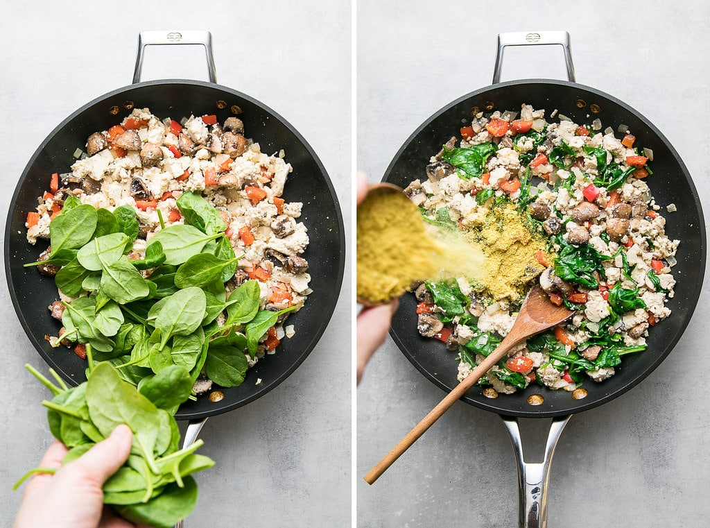 side by side photos showing the process of adding spinach and nutritional yeast to tofu scramble towards end of cooking.