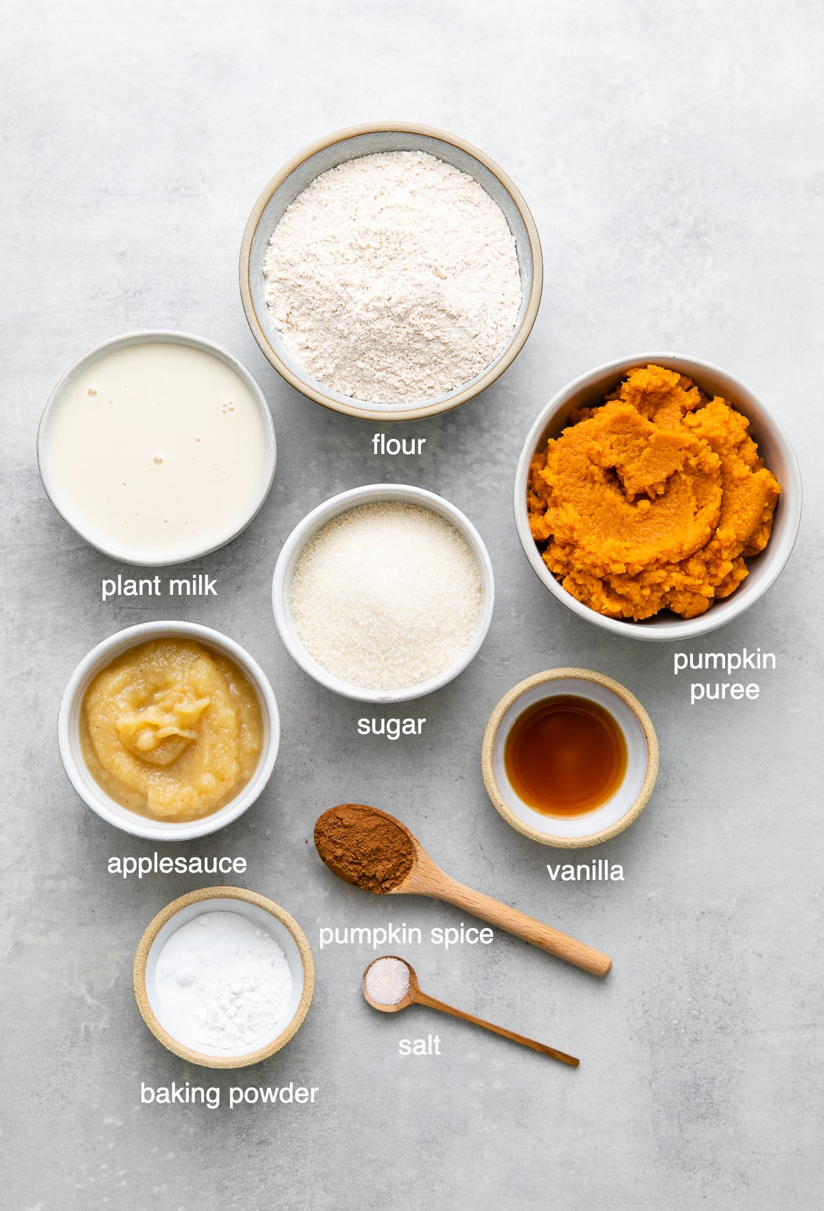 top down view of ingredients used to make the best vegan pumpkin bread recipe.